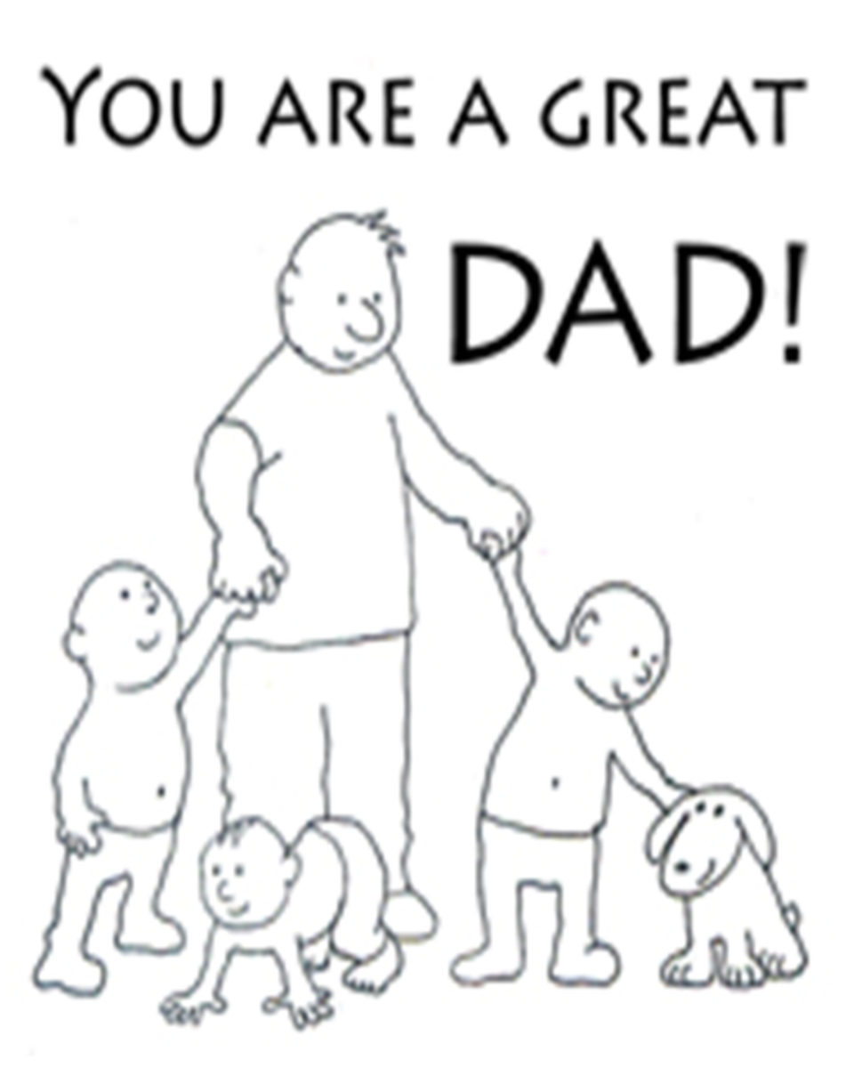 Coloring Page Of Dad With Kids And Dog