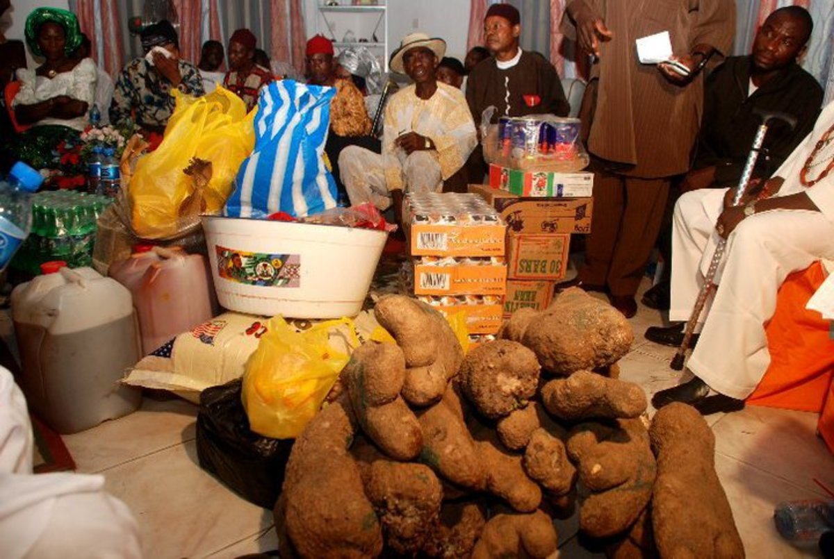 Large tubers of yam, assorted items constitute bride price