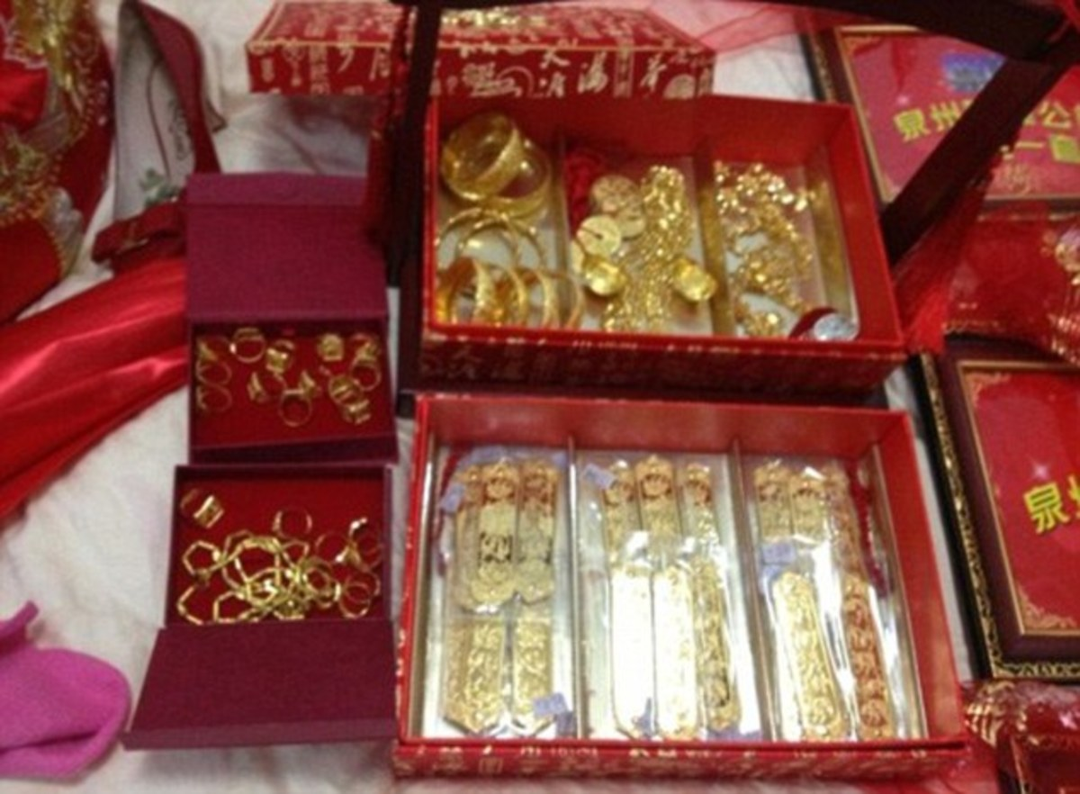 Expensive jewelry is paid as bride price