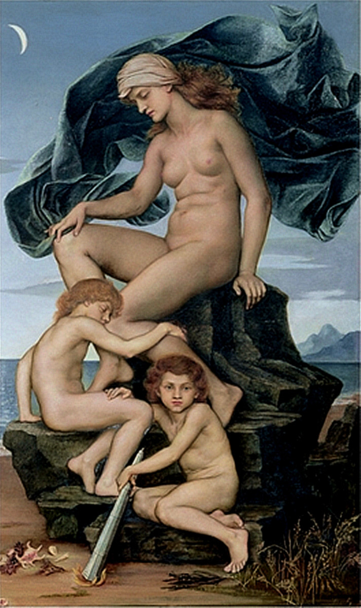 Sleep and Death, the Children of the Night - Evelyn de Morgan (1883) PD-art-100