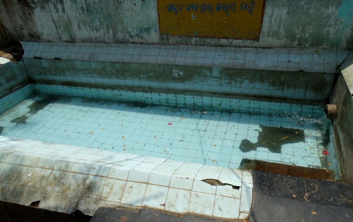 The bathing pool filled with hot water