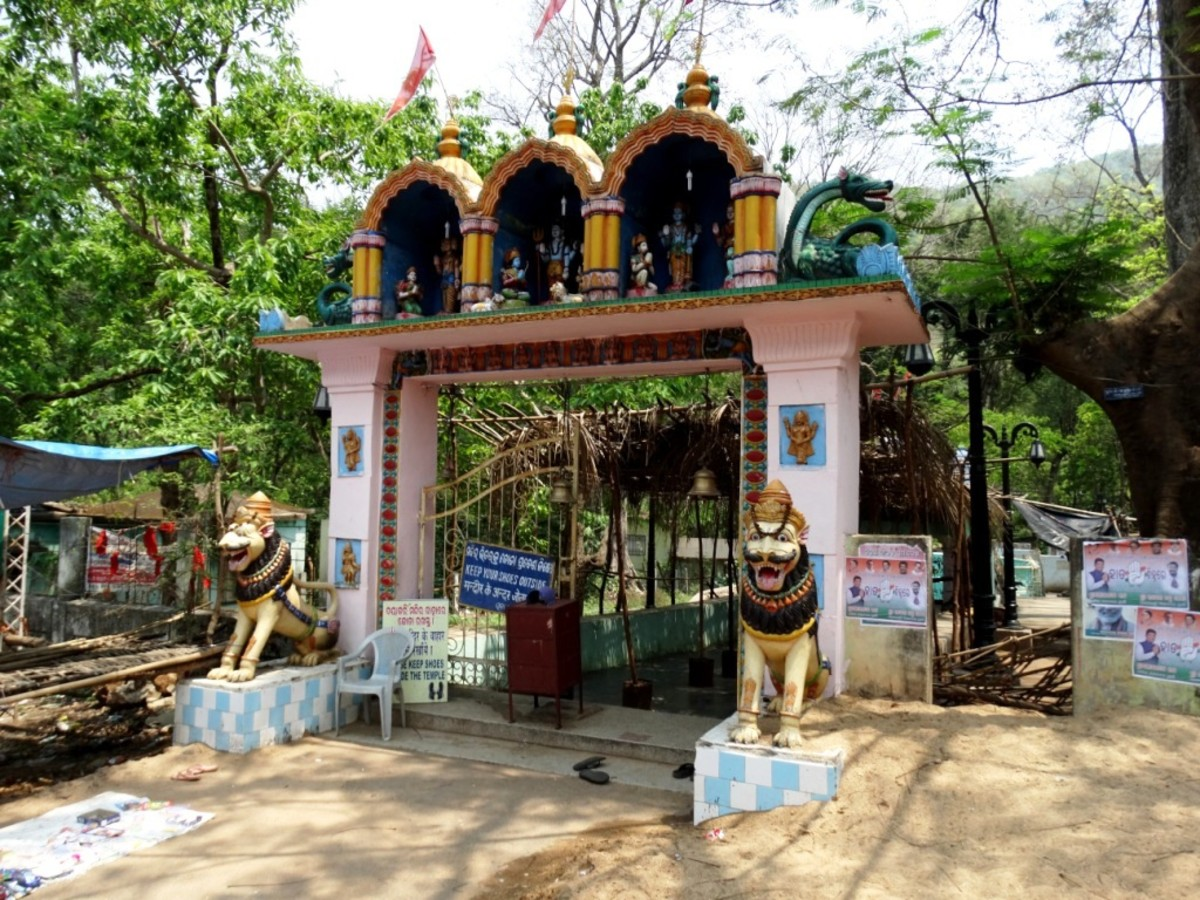 The gate of the hot spring & Kandhuni Mata temple, Taptapani
