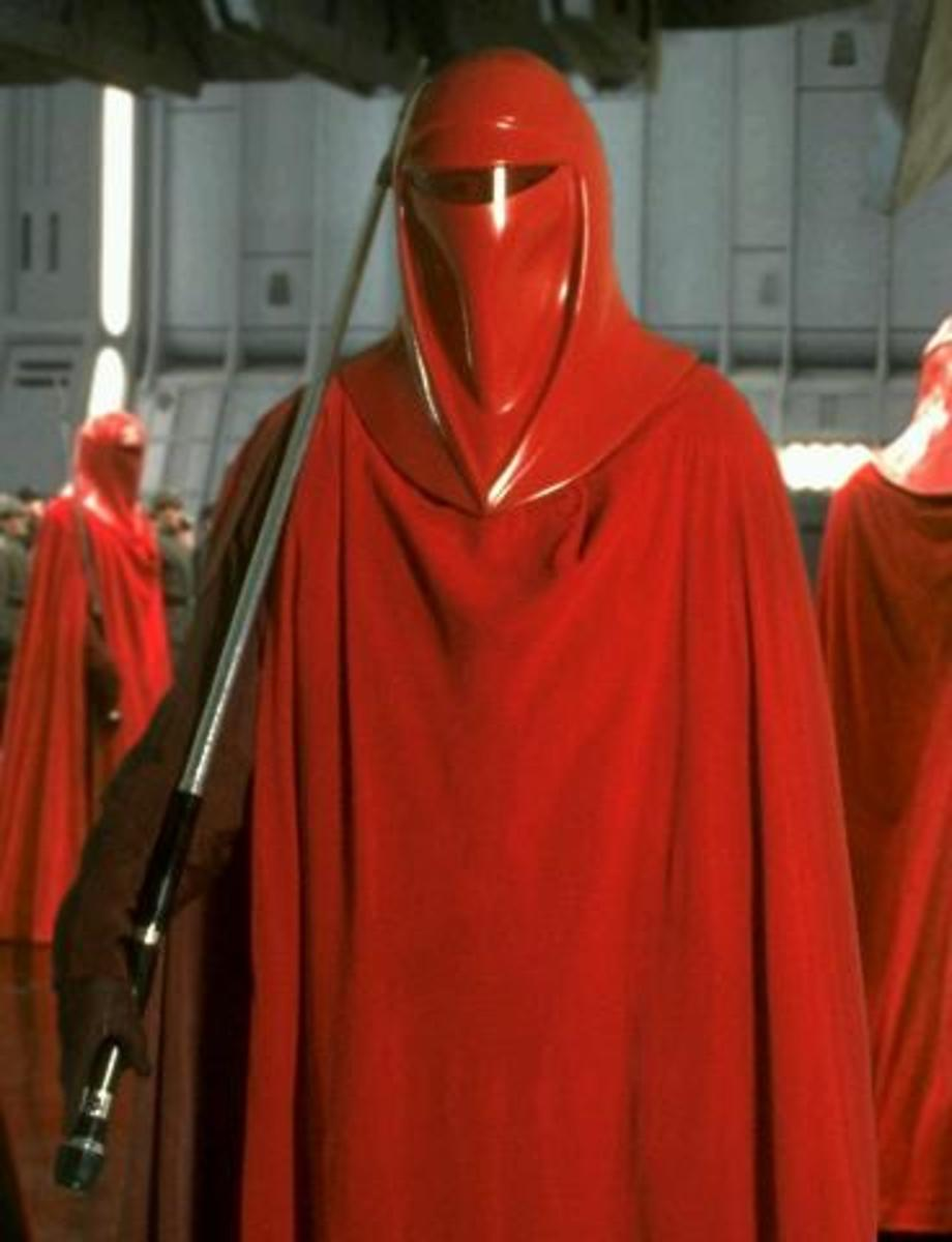 One of Palpatine's Royal Guard wielding a force pike.