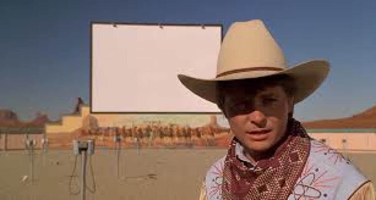 "Marty McFly uses a drive-in lot to travel to the 1800's in ""Back to the Future Part III""."