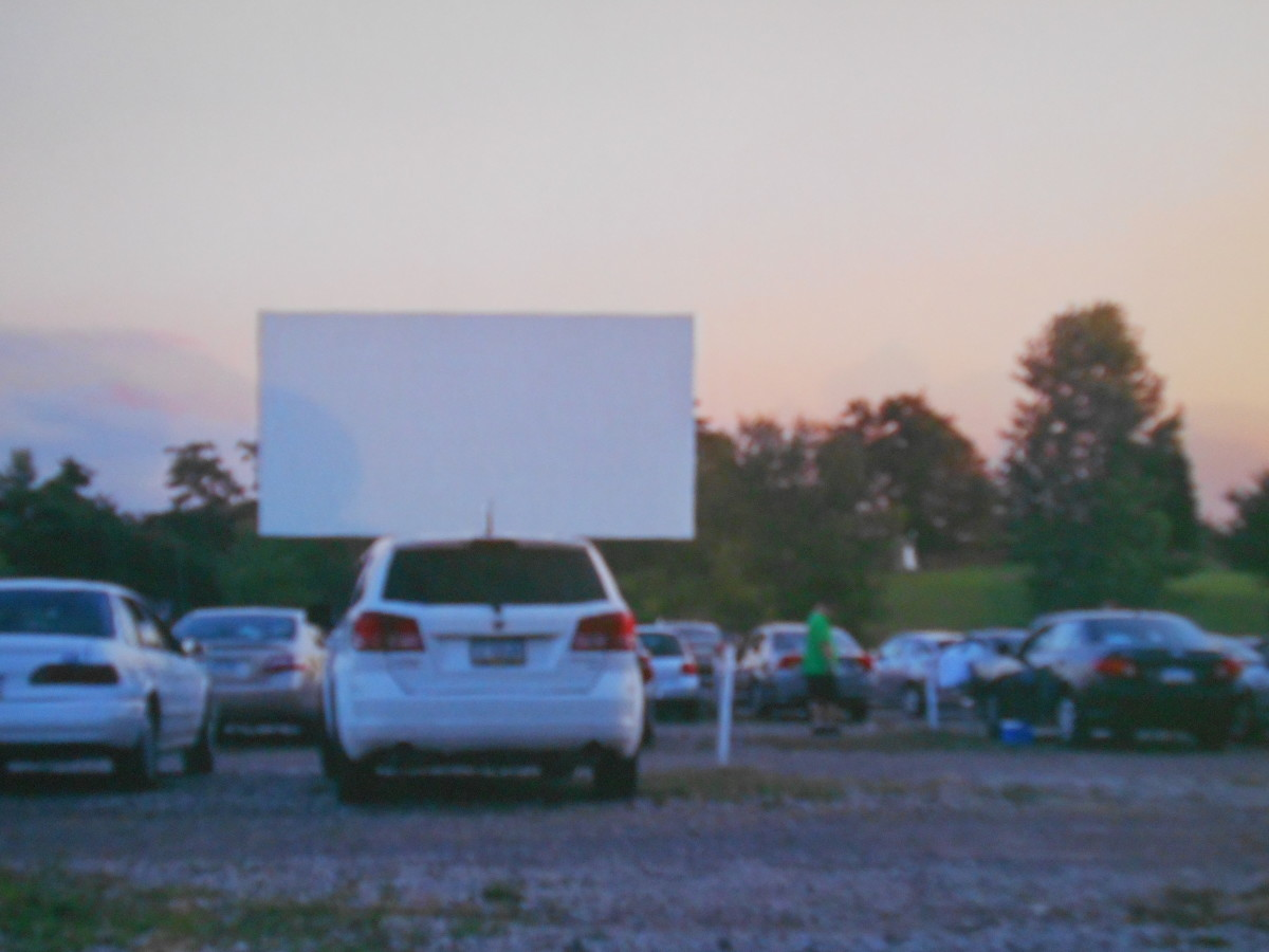 The drive-in at sunset.
