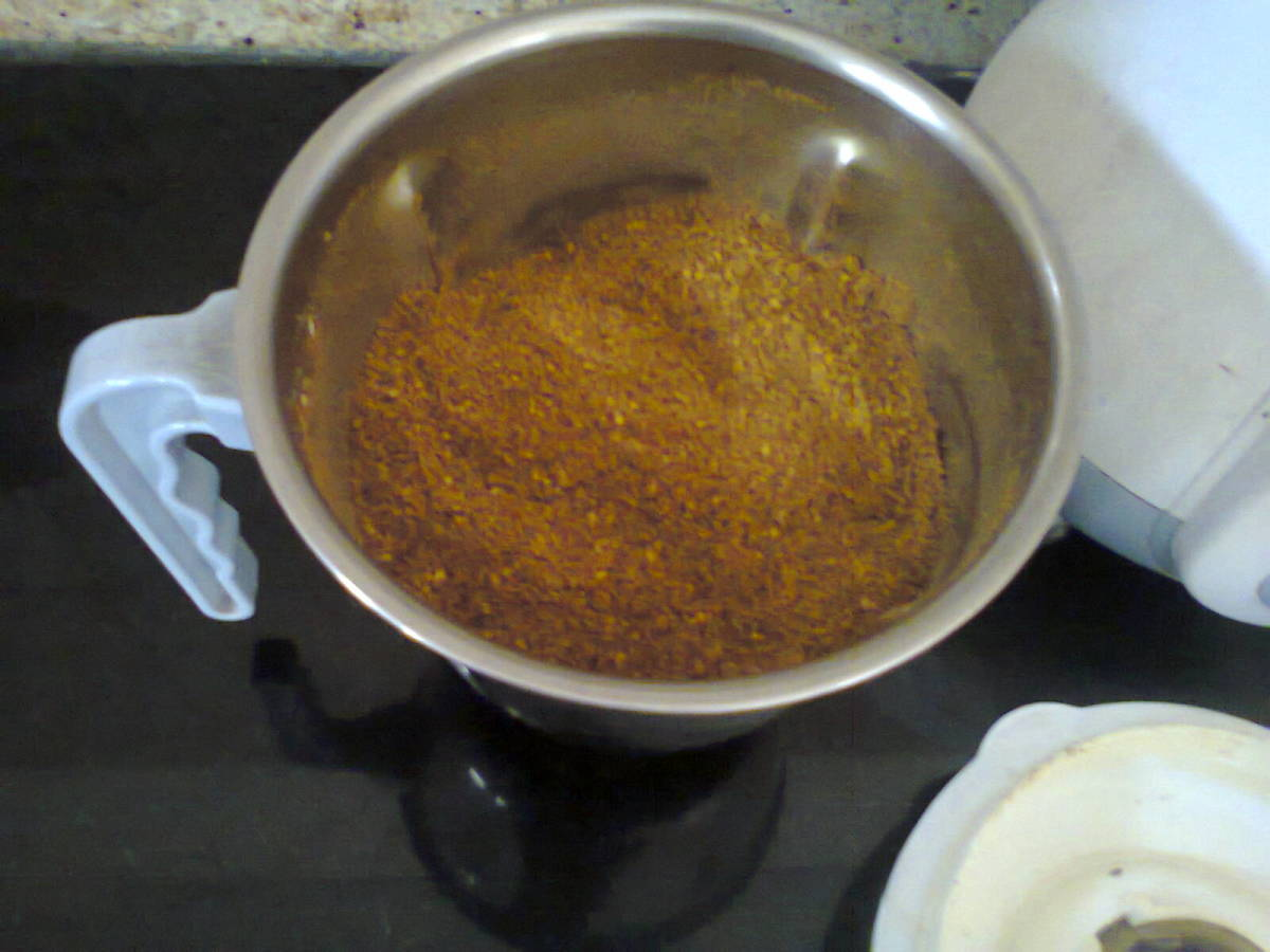 Spicy multipurpose powder just prepared and ready for use