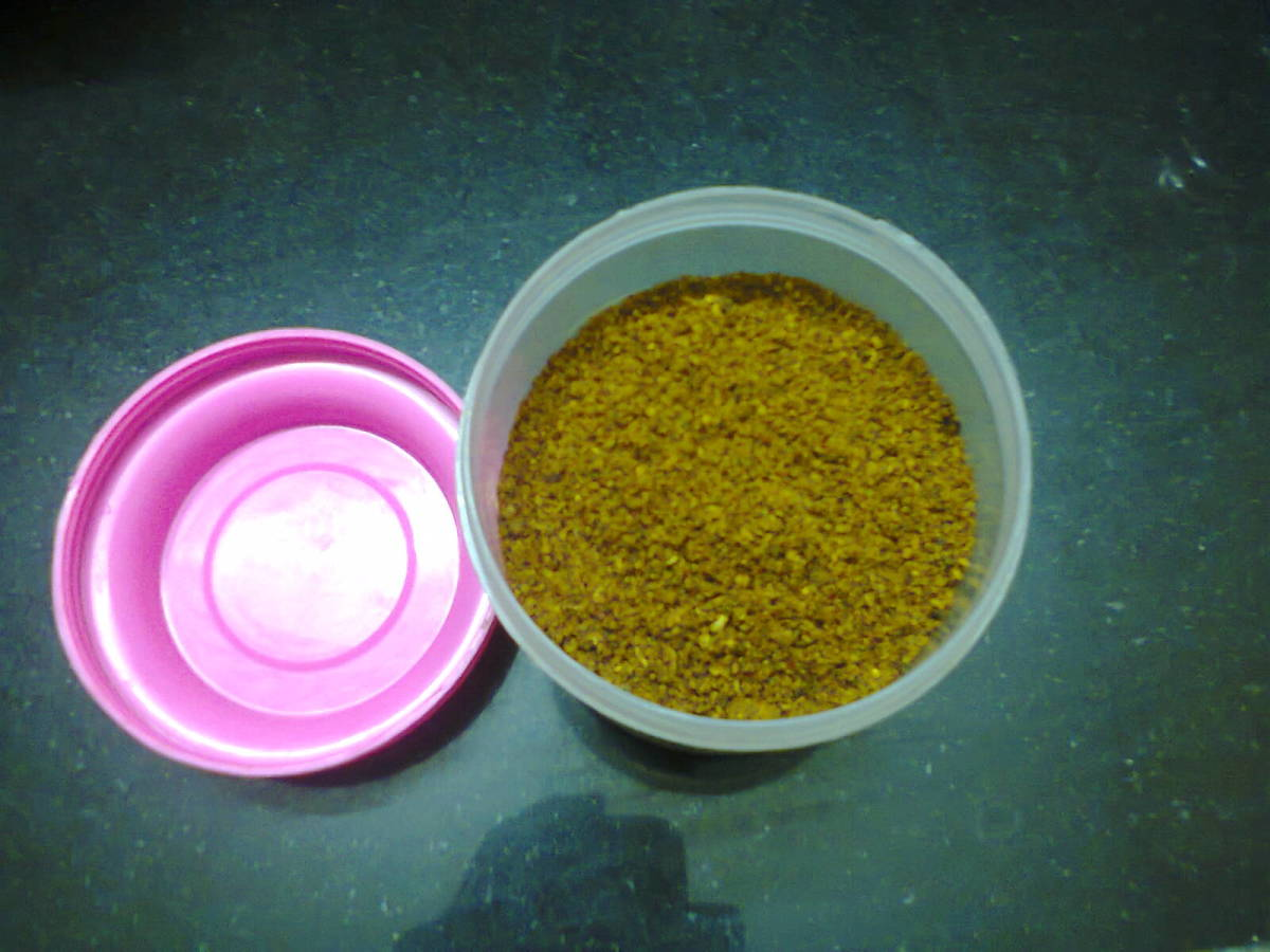 Another type of powder put into air-tight container for daily use.