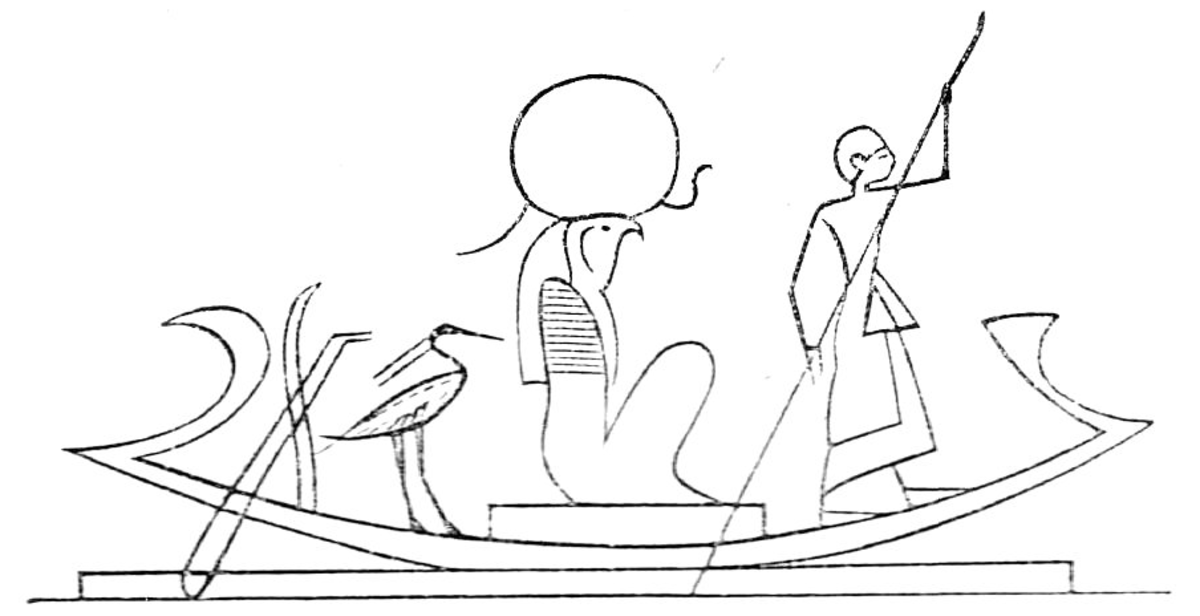 Ra and the pharaoh on Ra's nightly ride to defeat Apophis