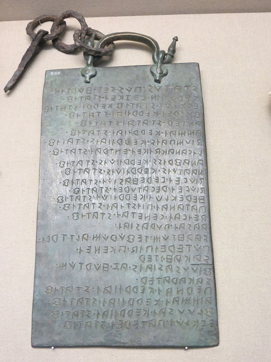 Tabula Osca originally found in Agone, Italy in the Molise region. It is written in the Oscan language.  Today it is on display in the British Museum.