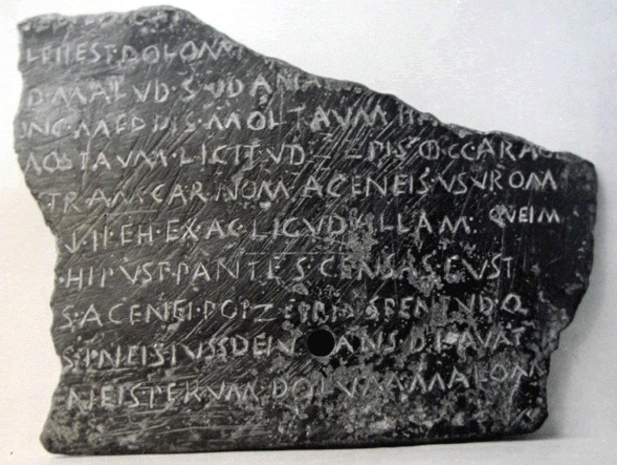 Tabula Bantina, discovered in 1793 in Banzi, Italy.  Written in Oscan language.  Bronze tablet today at the Naples (Italy) Museum.  From first century BC.