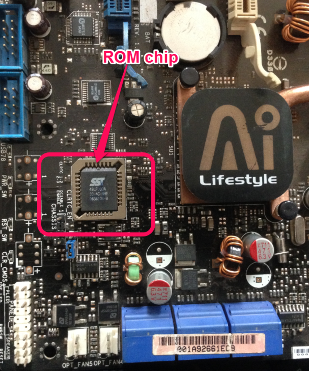 The ROM chip in an old desktop motherboard