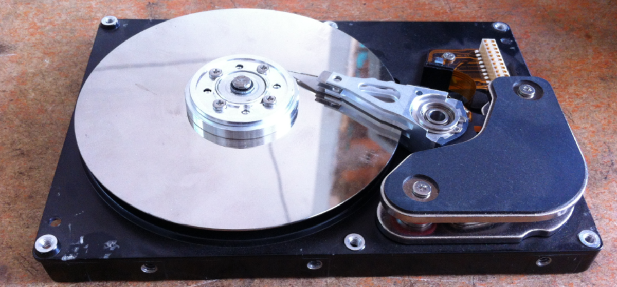 The platters inside a hard disk drive