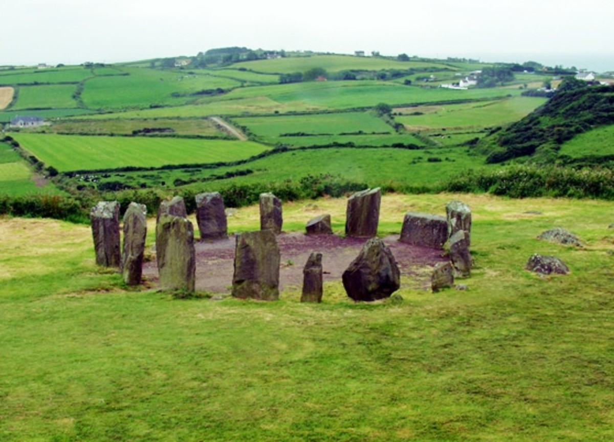 The stone circle at Dromberg with the beautiful Irish countryside in the background. Photo by Alan Simkins.