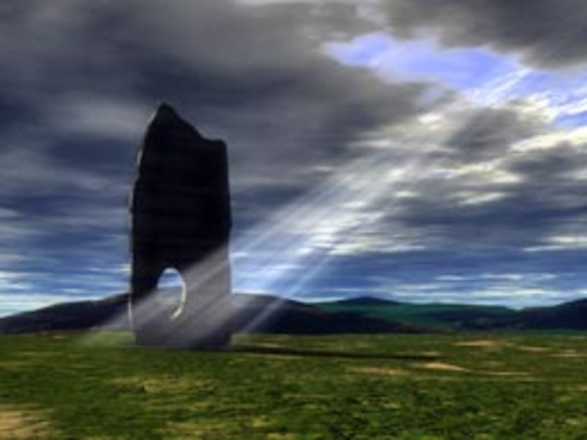 An artist's rendition of the Odin Stone.