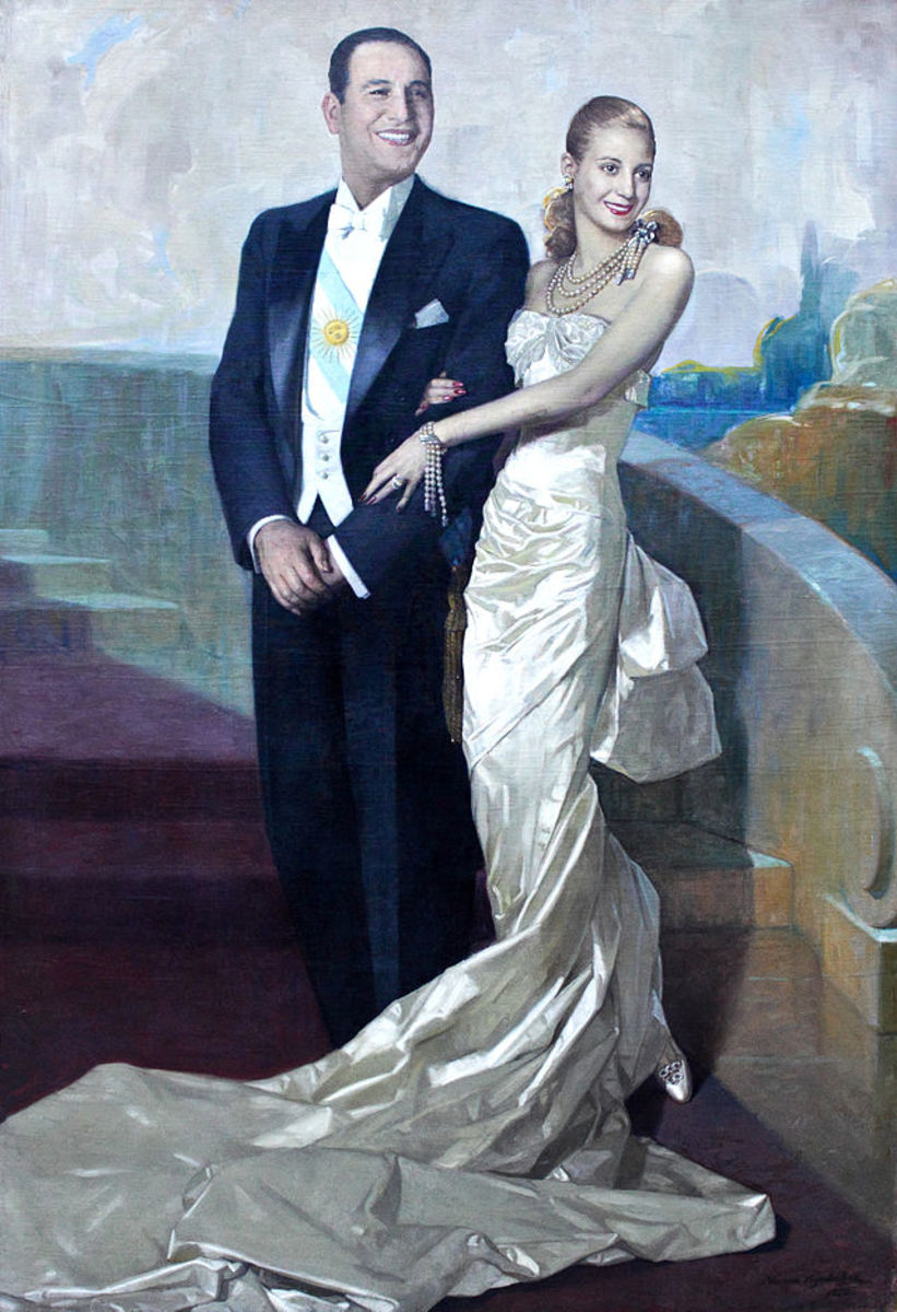 Juan Peron's official portrait is the only one to also feature the First Lady.