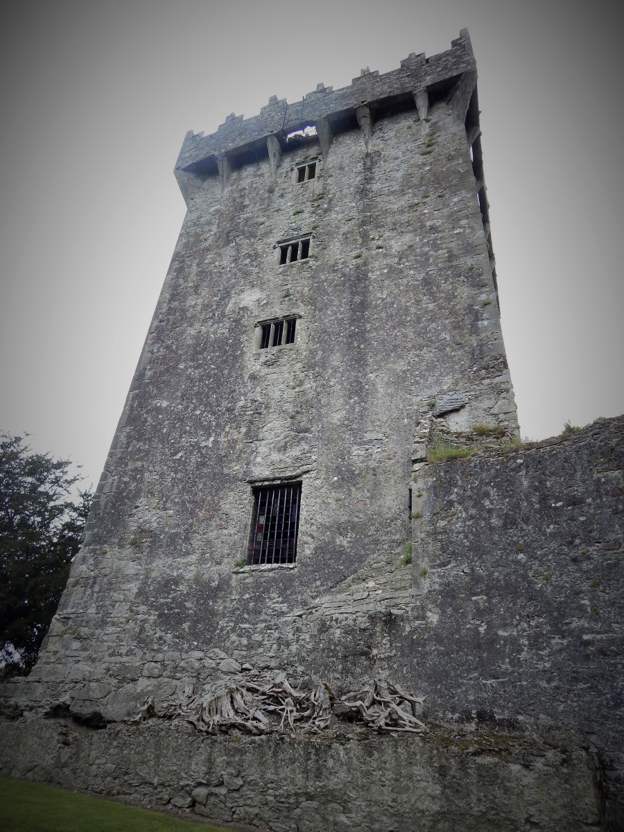 The gap in the battlements through which one must lean to kiss the stone, can be seen in this photograph.