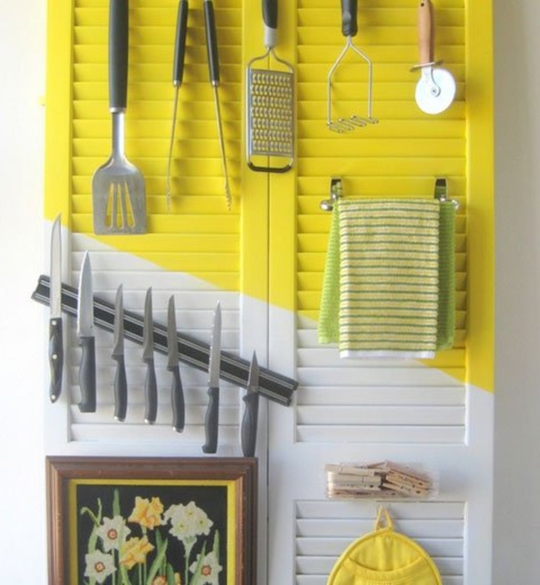 Small Kitchen Organizing Ideas   Click Pic for 20 DIY Kitchen Organization Ideas Re-purposed Doors for Utensils