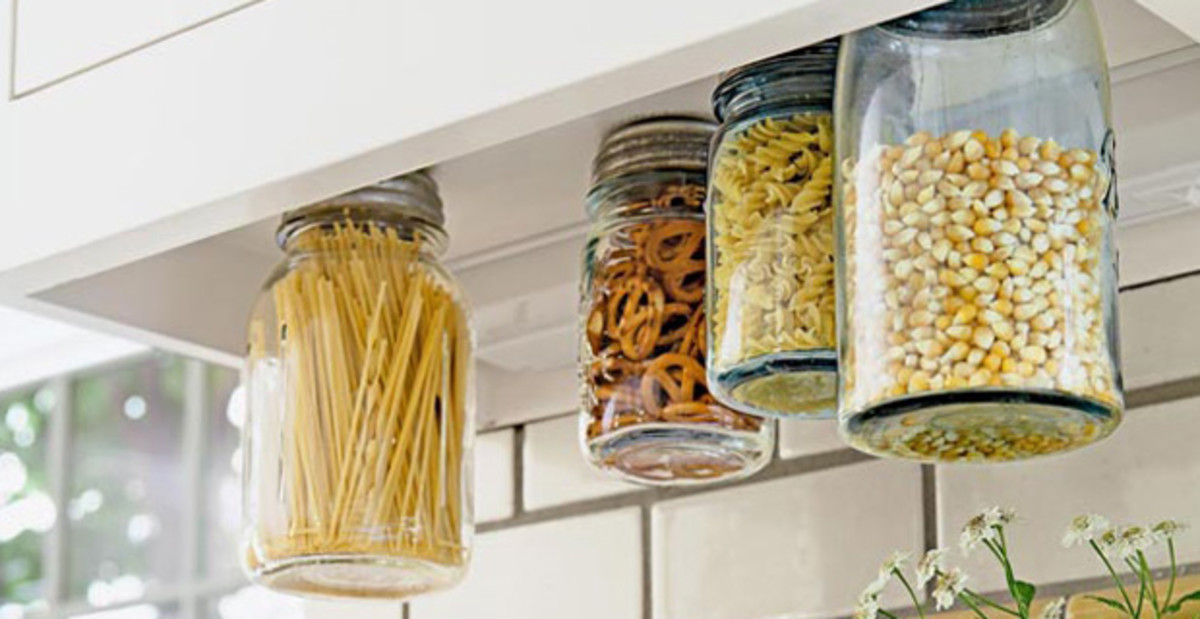 Small Kitchen Organizing Ideas   Click Pic for 20 DIY Kitchen Organization Ideas Screw Canister Lids to Bottom of Cupboards