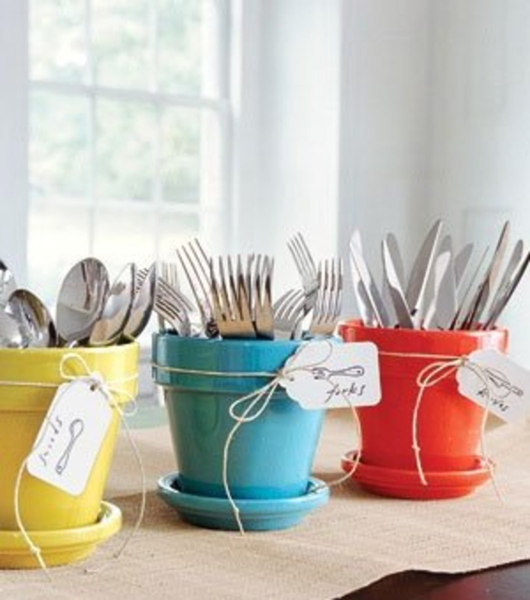 Small Kitchen Organizing Ideas   Click Pic for 20 DIY Kitchen Organization Ideas Use Glossed Pot Holders as Cutlery Holders