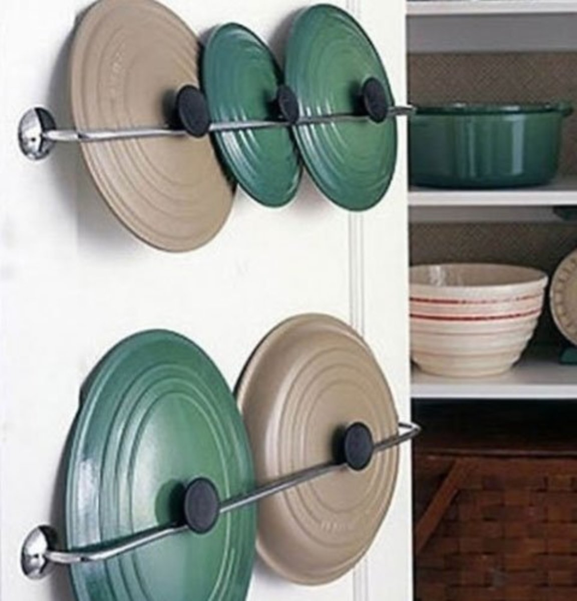 Small Kitchen Organizing Ideas   Click Pic for 20 DIY Kitchen Organization Ideas Upcycle Towel Rails for Pot Lids