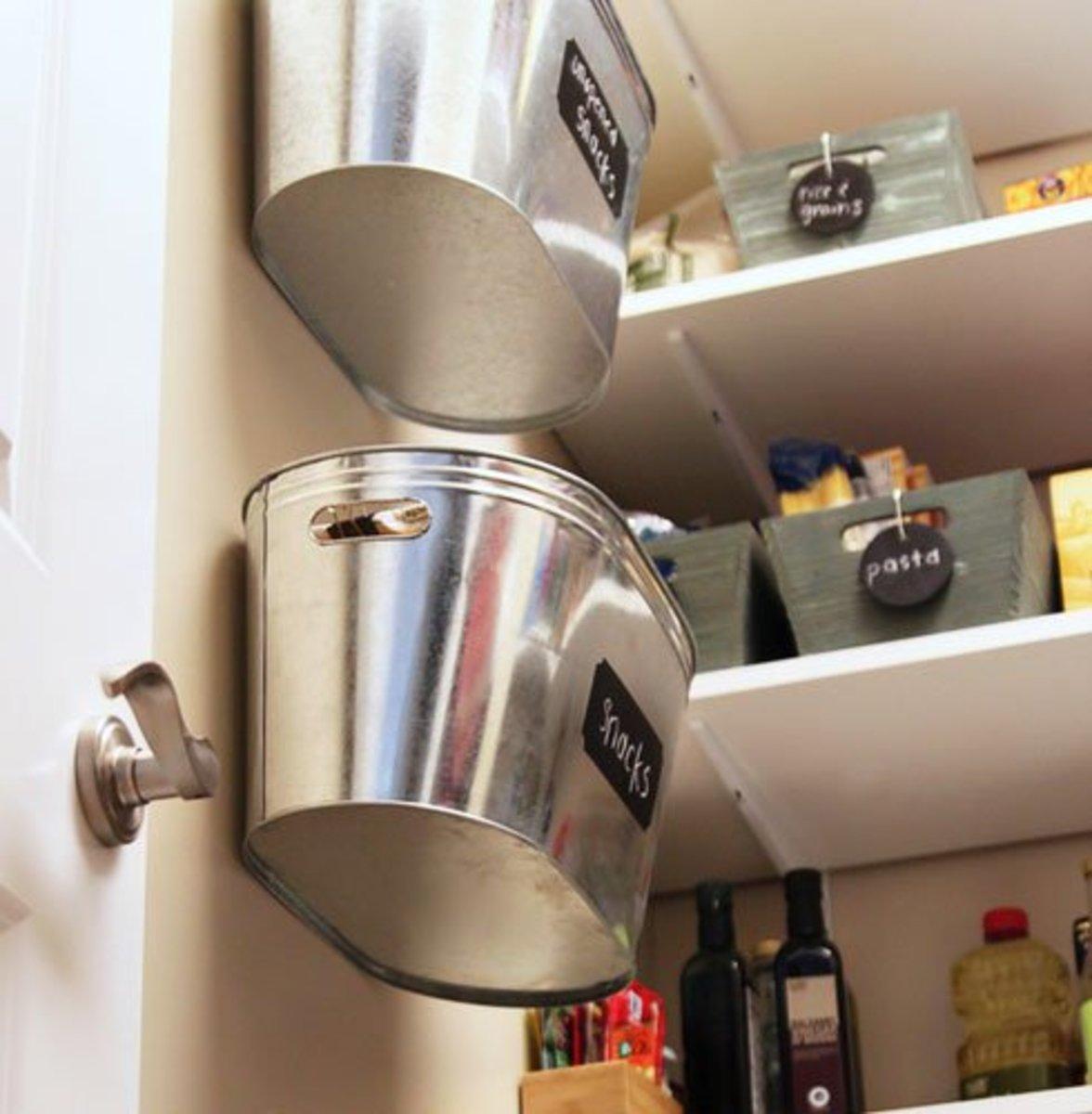 Small Kitchen Organizing Ideas   Click Pic for 20 DIY Kitchen Organization Ideas Hanging Metal Bins