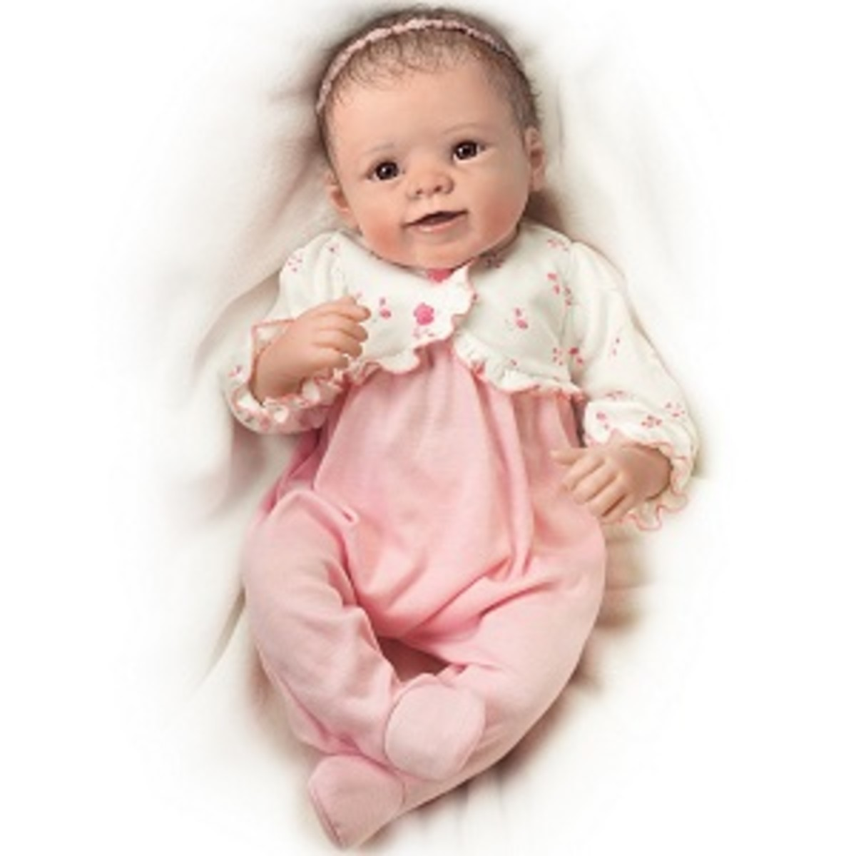 One of many lovable lifelike breathing baby dolls