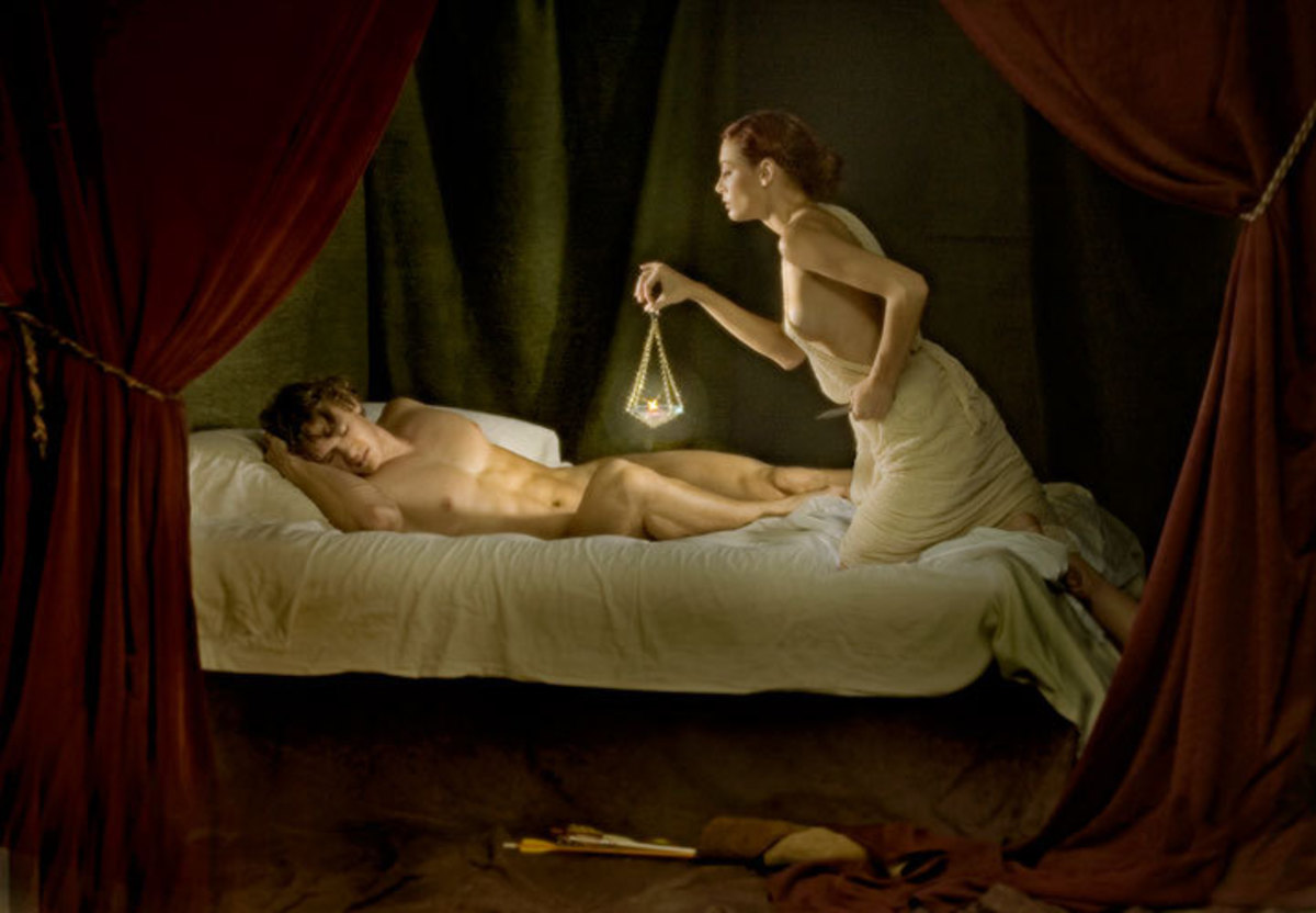 Psyche peeking at Cupid as he sleeps