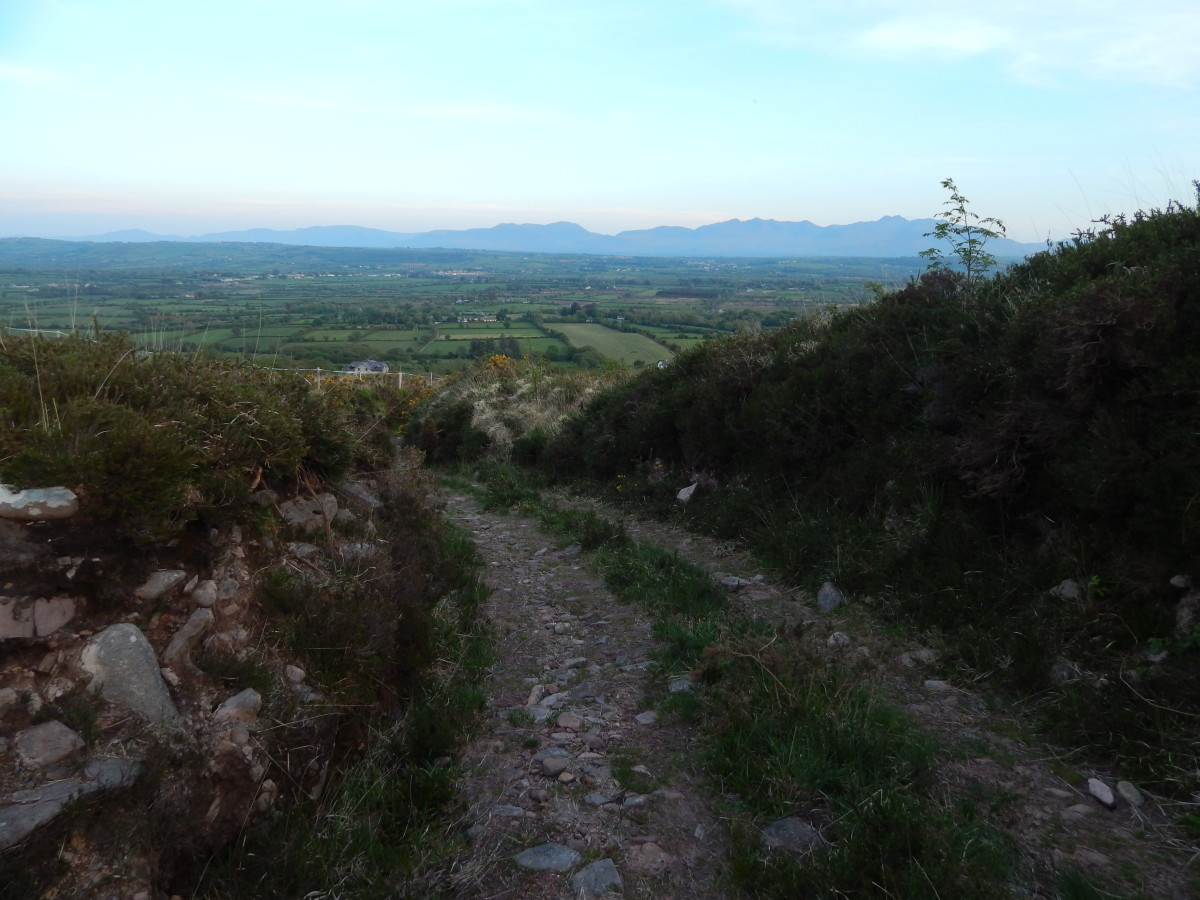 Slieve Mish mountain track at dusk