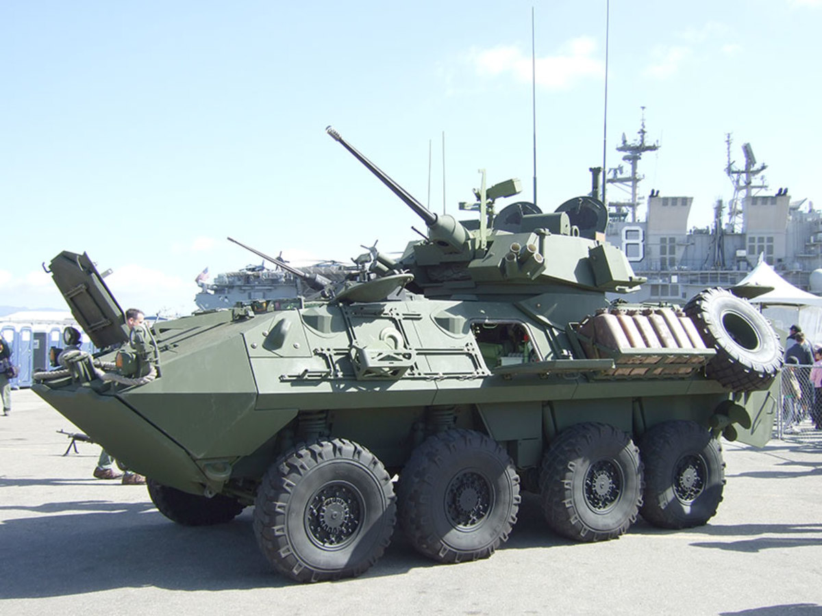 Side view of USMC LAVA2.  The two boxes on top of the turret are the thermal sights for the gunner and commander.