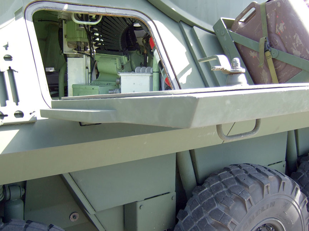 A side open hatch on a LAVA2.  Note how thick the add-on armor is on the hatch compared to the thin hull armor around the opening.