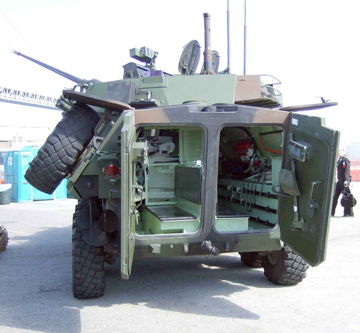 Rear view of the USMC LAVA2.  The LAV-25 has a crew of three and carries 2-4 Marine scouts in the rear passenger compartment.