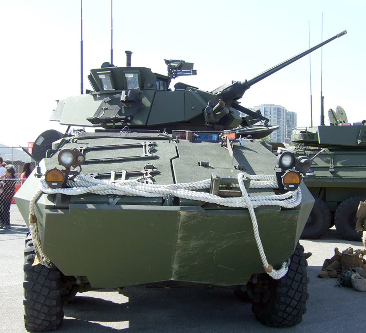 """Frontal view of LAVA2.  Note the """"glass armor"""" blast shield panels on the turret roof to protect the crewmember when standing in the hatch or firing the turret-mounted M240 medium machine gun."""
