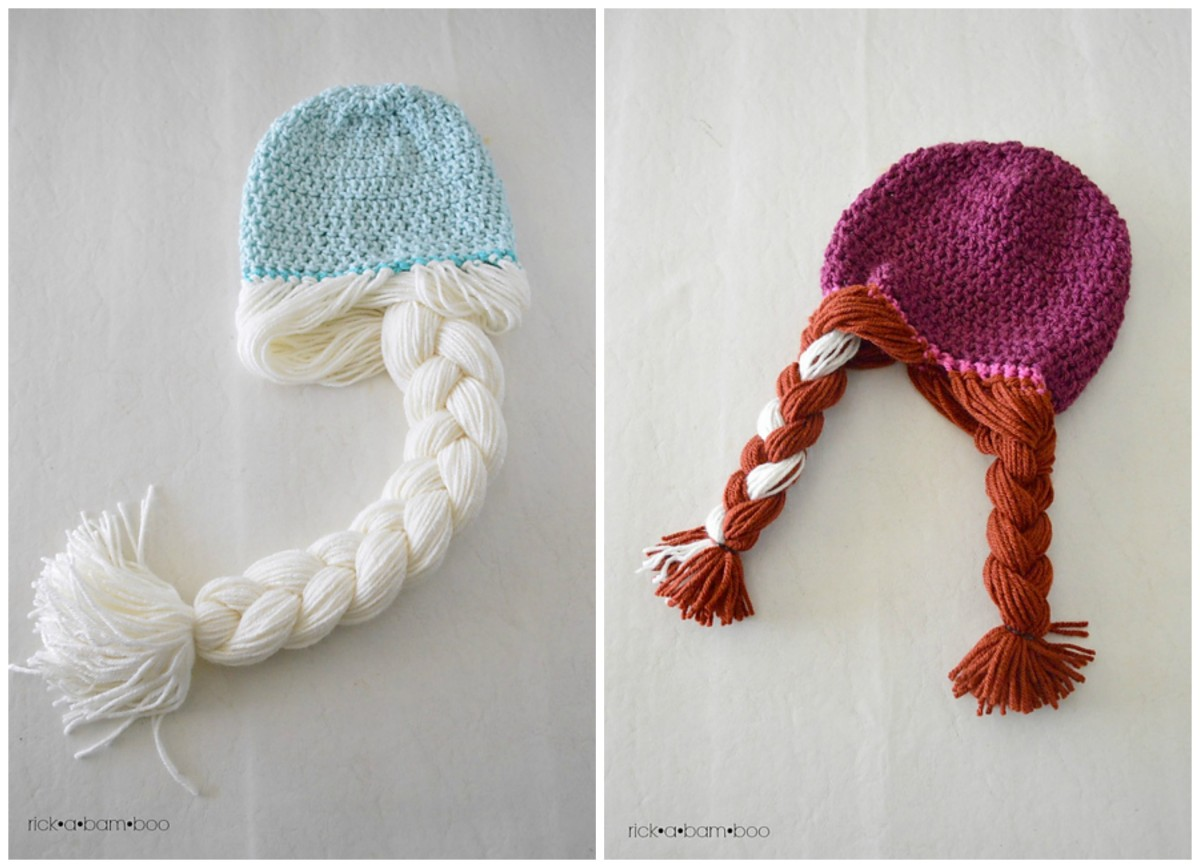 Ana and Elsa Crochet Hats with wigs.