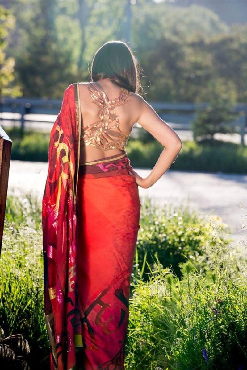 Stunning Saree Blouse Back design in golden color