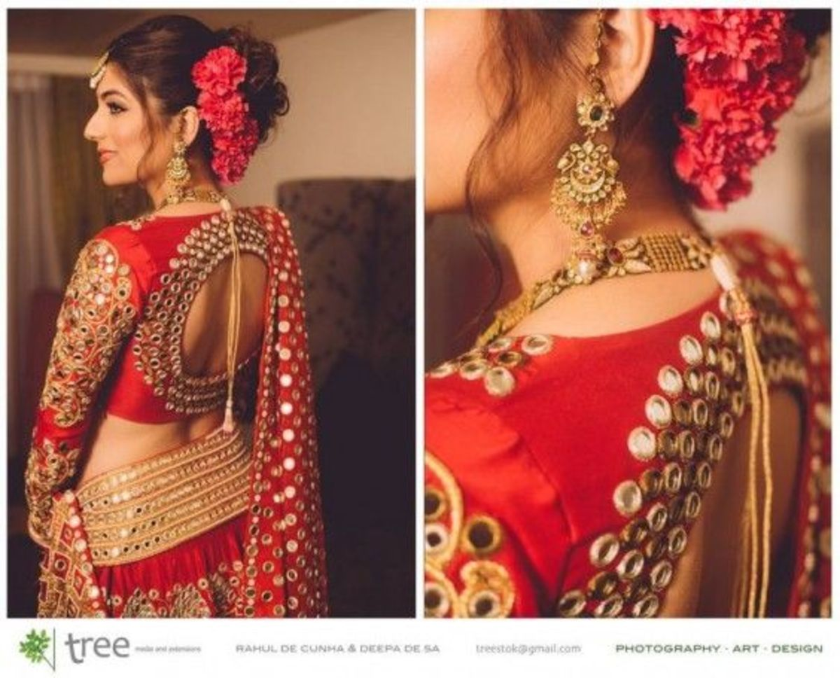 window Back bridal red sarie blouse back