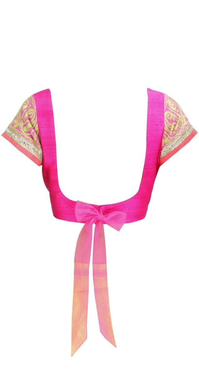 Pink blouse back with bow