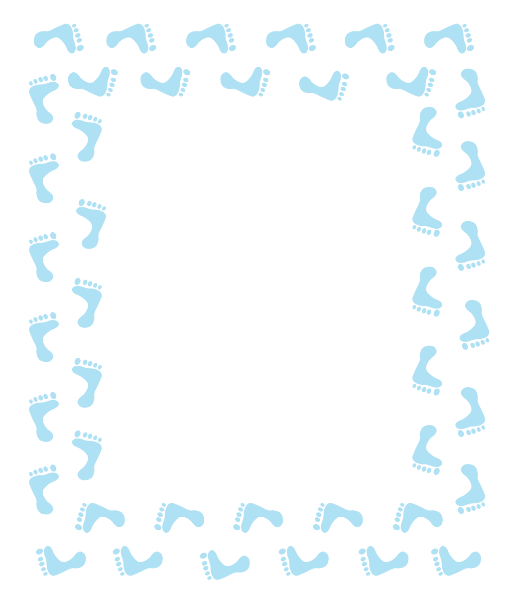 Blue Footprints Clip Art Frame