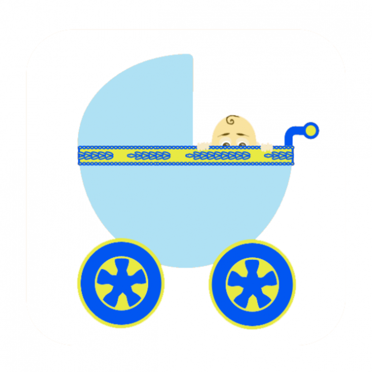 Image of a baby boy peaking out of a blue carriage.