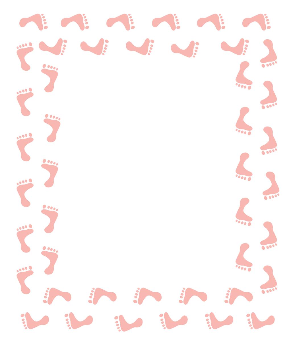 Pink Baby Girl Footprints Clip Art Frame