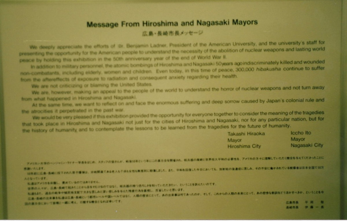 Message from the mayors of Hiroshima and Nagasaki.