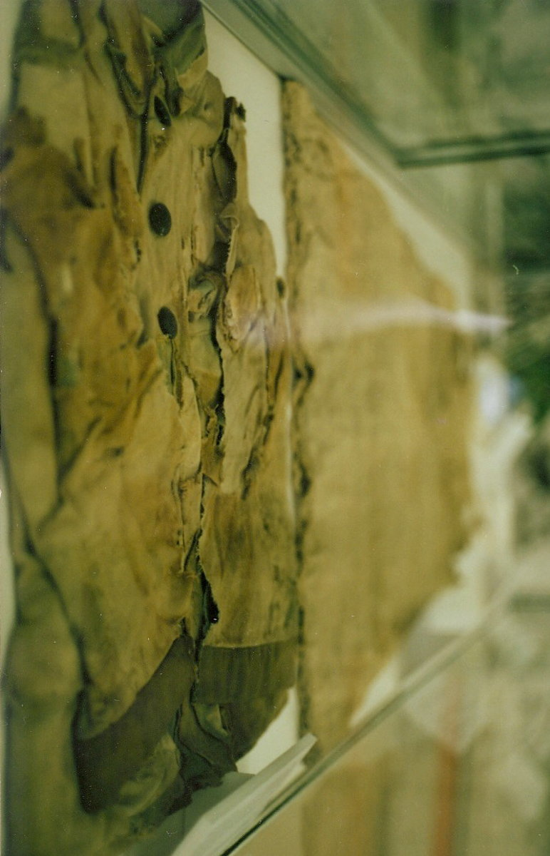 Burnt clothing of an atomic bomb victim.