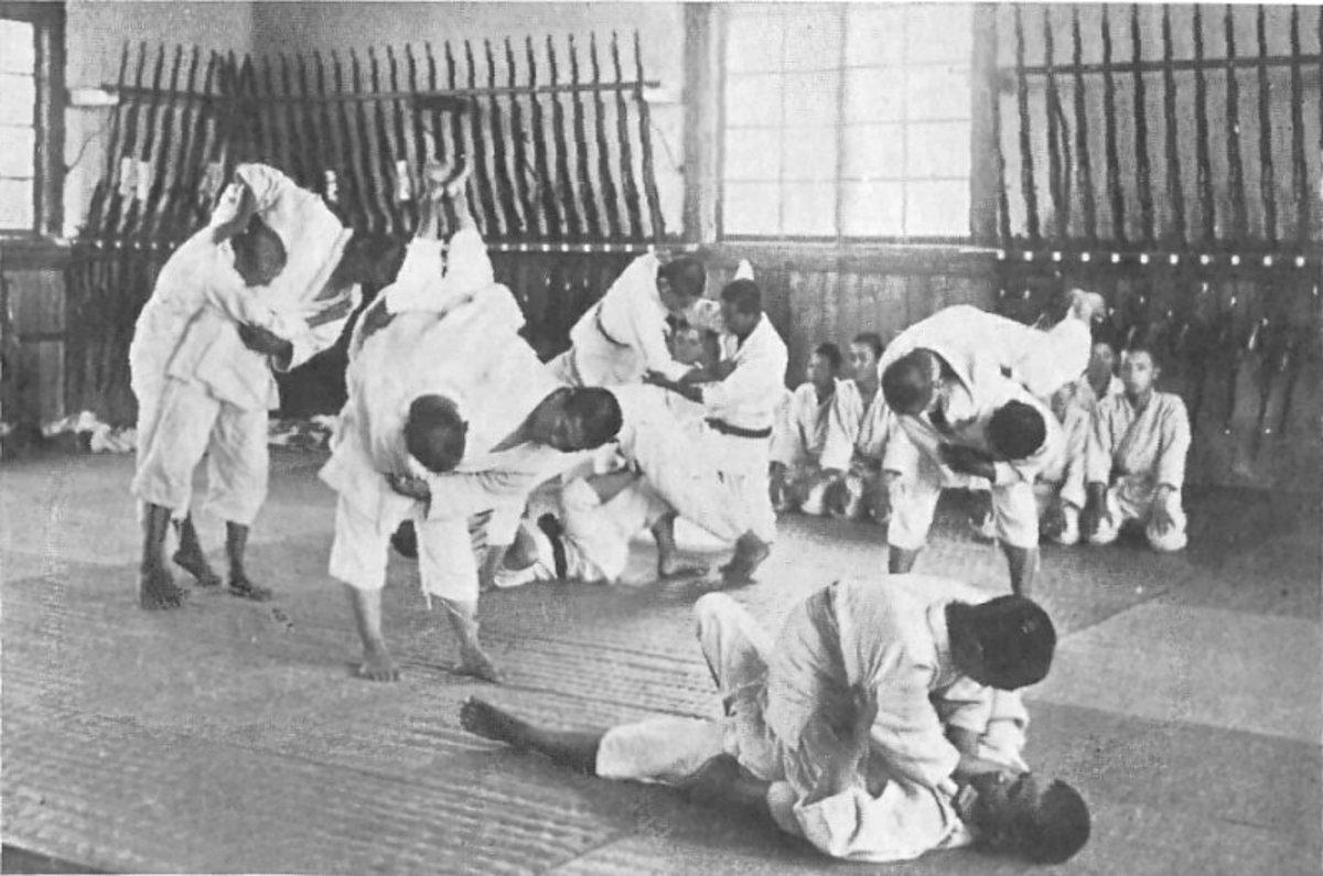 Jujitsu practice, circa 1920.