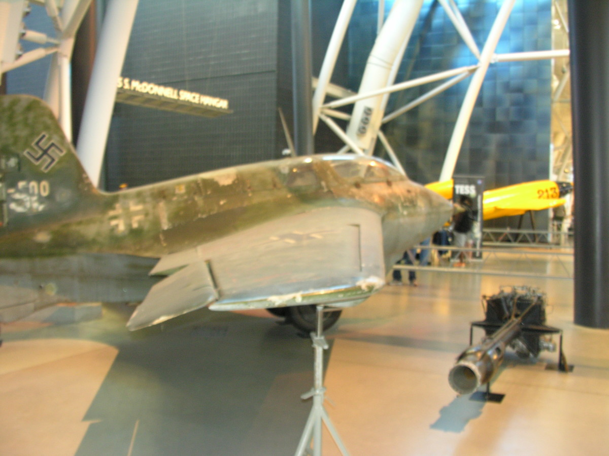 The Me 163 Komet at the Udvar-Hazy Center, June 2016.  The Walter Rocket engine is on display in front of the Me 163.