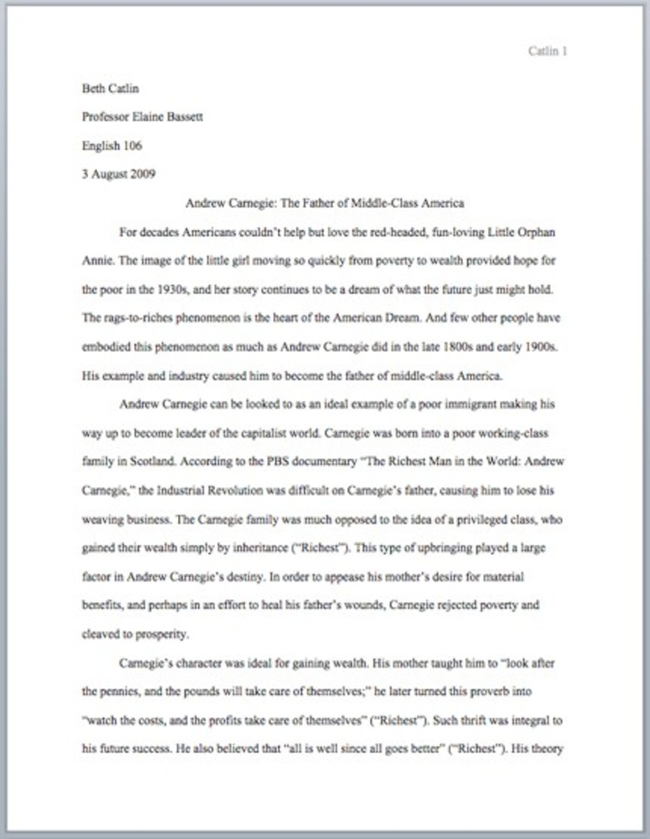 Outlining Writing And Mla Formatting A Five Paragraph