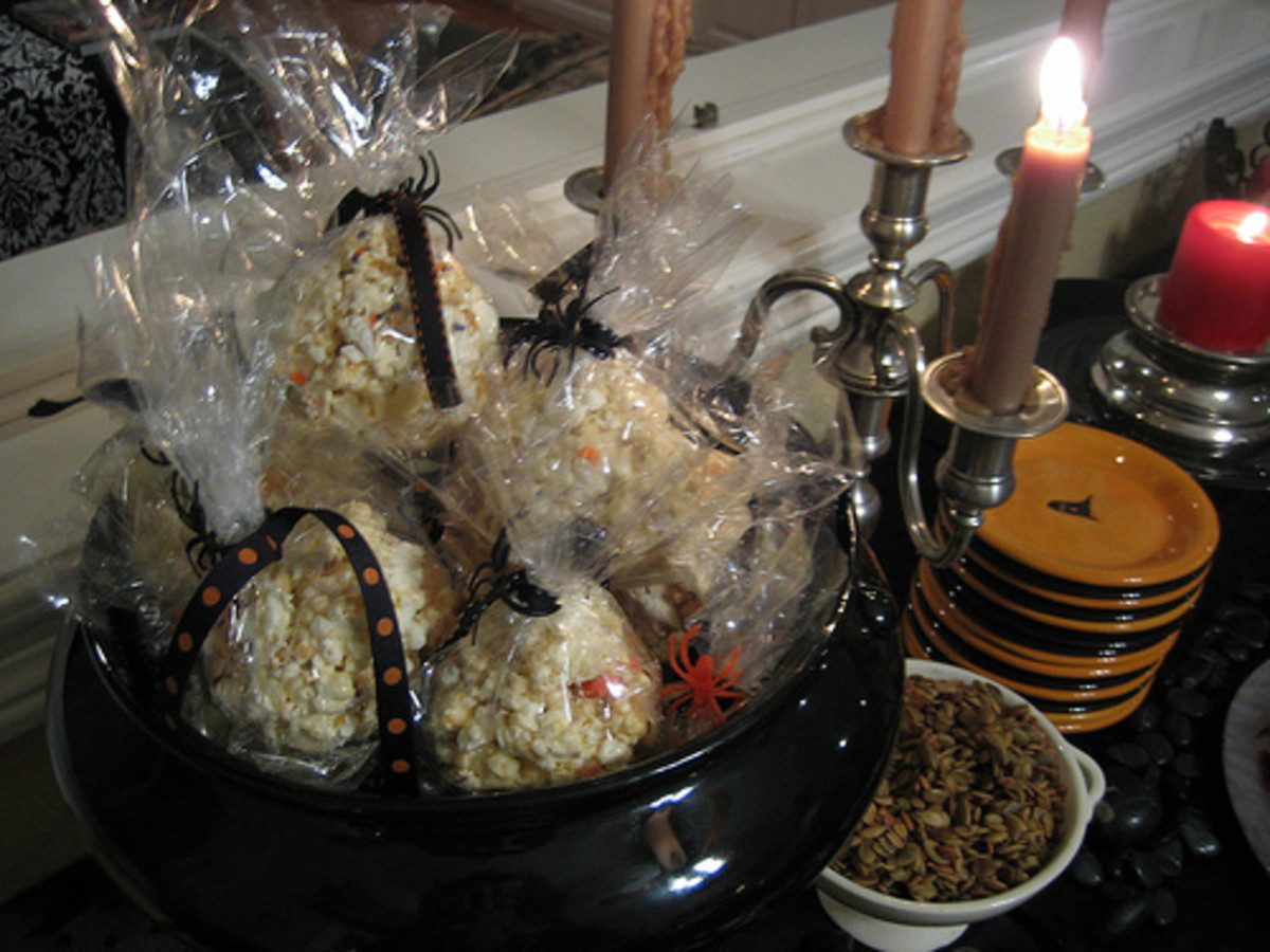 Holiday packaging adds a fun touch to any Halloween popcorn recipe.