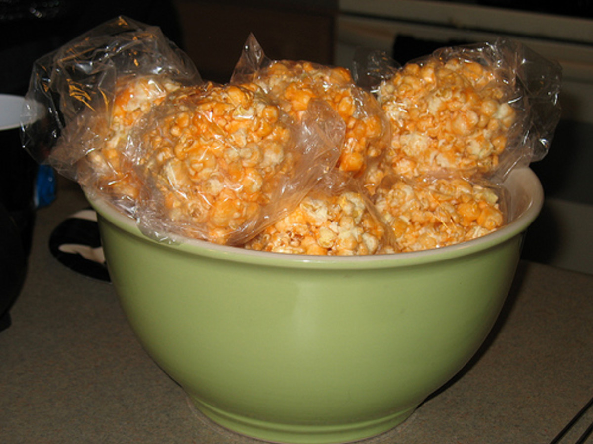 Cheddar cheese is perfect for creating orange popcorn balls for Halloween.