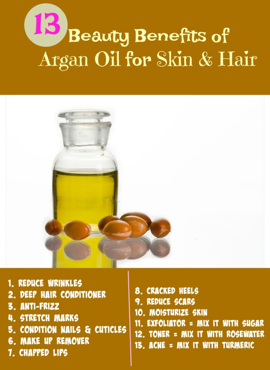 Argan oil has many uses in cosmetics. The benefits include reducing acne, wrinkles, stretch marks and scars. It is also good as a moisturizer, toner & exfoliator.