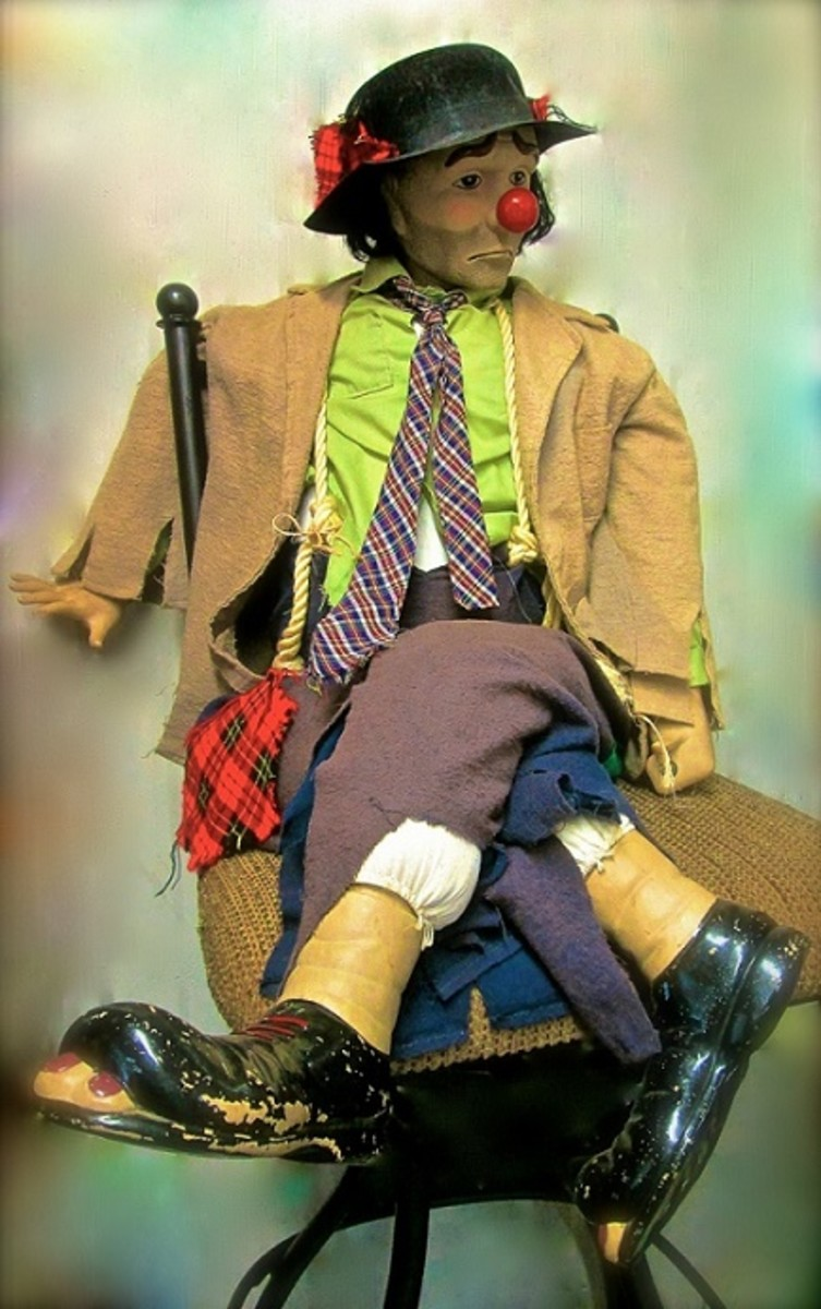 Vintage Collectible Hobo Clown Doll