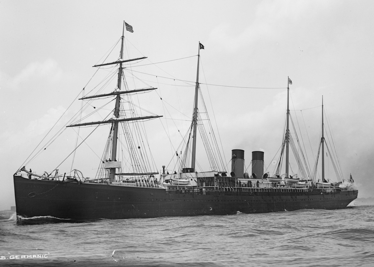 SS Germanic was an ocean liner built by Harland and Wolff in 1875 and operated by the White Star Line. From Liverpool, stopping at Queenstown Ireland On June 4 1903 it steamed onto New York arriving on June 11th