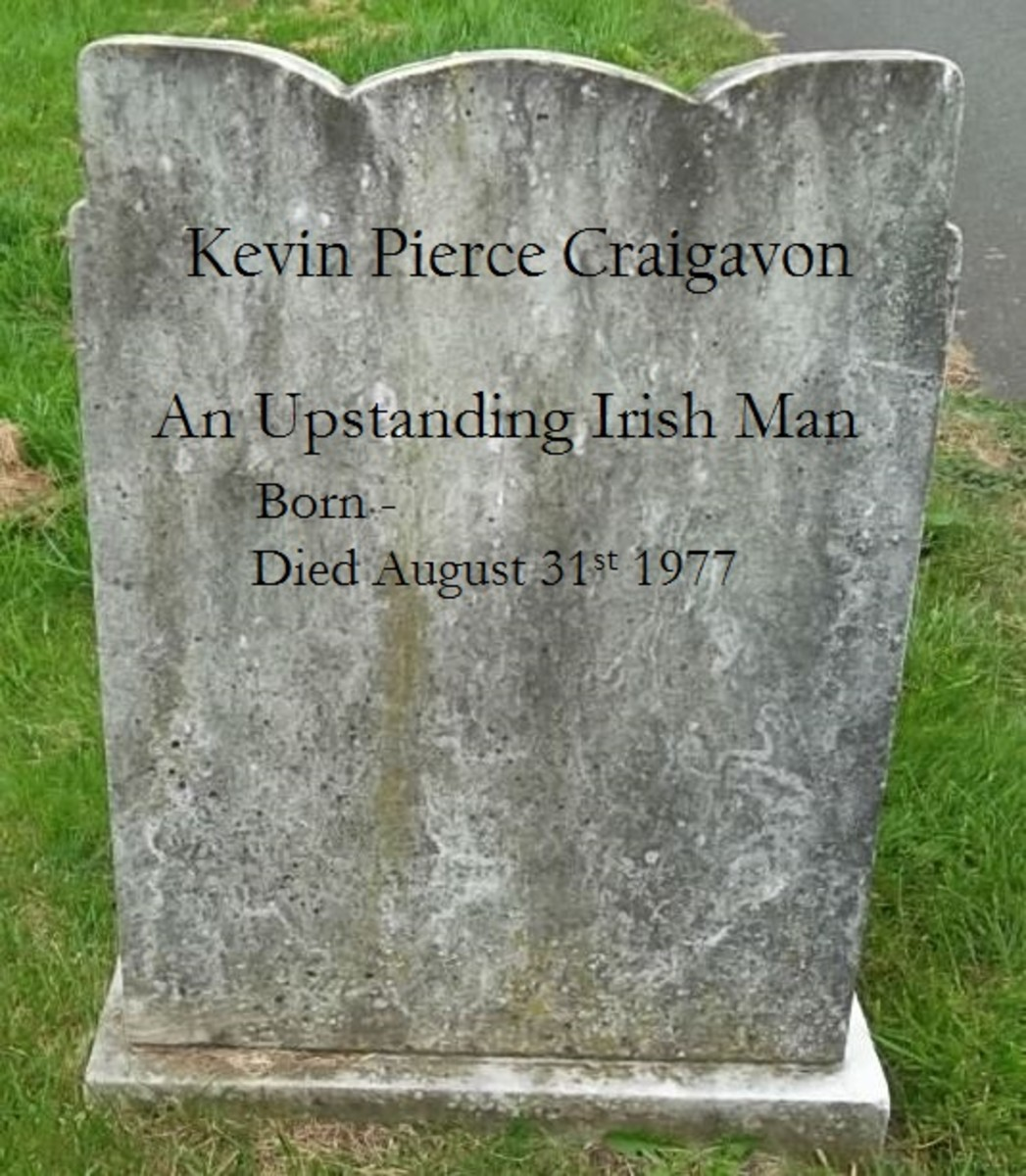 The epitaph: An Upstanding Irish Man. The date of birth entry has been left unfilled